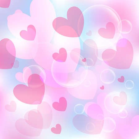 Valentine's day background. Hearts colorful overlapping. Vector illustration