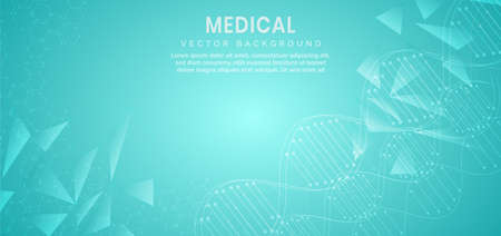Template for science and technology concept or banner with a DNA molecules. You can use for ad, poster, template, business presentation. Vector illustration
