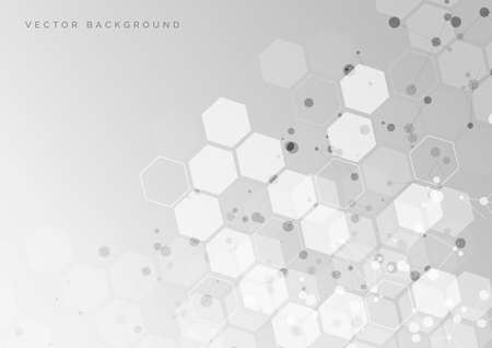 Abstract white and grey hexagon pattern background. Medical and science concept and structure molecule and communication. You can use for ad, poster, template, business presentation. Vector illustration