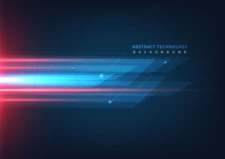 Abstract technology geometric overlapping hi speed line movement design background with copy space for text. Vector illustration Vector Illustration