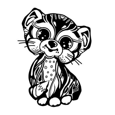 Icona del giocattolo gatto bianco e nero. Occhi grandi. Stampa di bambini animali gattino-gattino Fanny. Illustrazione vettoriale Vettoriali