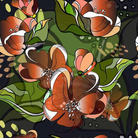 Orange blossoms are drawn on a dark blue background. Bouquet seamless pattern. Moon and sun burned spring blossoms. Vector illustration