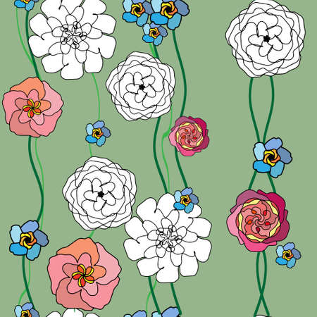 Seamless pattern with bright floral blossoms on a soft green background.Floral illustration with red, pink, white, flowers. Vector Illustration
