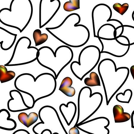 Seamless hearts pattern for Valentines Day. Hearts illustration drawn black line and color graphics art.Vector