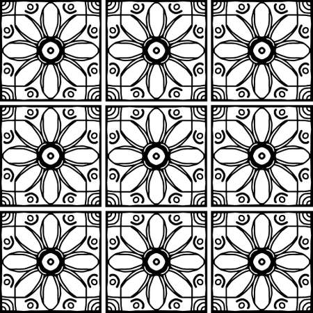 Geometric seamless pattern. Black and white line drawing - square. Vector decorative background with floral elements. Ilustrace