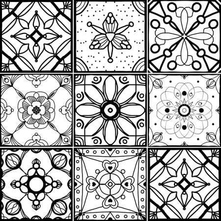 Geometric seamless pattern set. Black and white line drawing - square. Vector decorative background with floral elements. Ilustrace