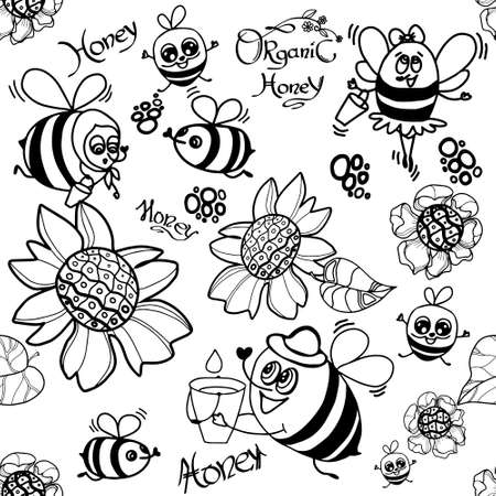Bee Seamless Pattern. Set of bee, honey, lettering and other beekeeping illustration. Vector