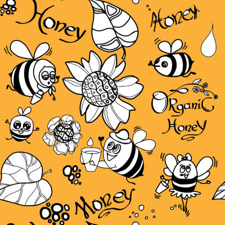 Bee Seamless Pattern. Set of bee, honey, lettering and other beekeeping illustration on yellow background. Vector Ilustrace