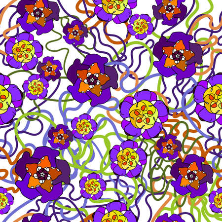 Floral pattern in bright colors, yellow, red, purple, green, white. Drawing of painted flowers with black line drawing. Vector Illustration. Romantic design for decoration, fabric, textiles, wallpaper