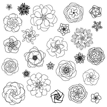 Vector set with white flower blossoms. On a white background, black outline. In a simple style. for factories, textiles, design, wallpapers, packaging, paper, backgrounds.