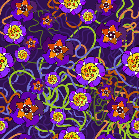 Vector seamless pattern, ornament with neon flowers. On a purple background, black outline. In a simple style, primitive style. For factories, textiles, design, wallpapers, packaging, paper backgrounds