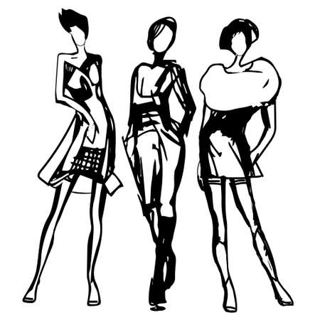 Women silhouettes drawn black line. Fashion sketch. Vector. Hand drawn stylish young lady. Black ink drawing. Fashion model posing. Shopping concept 向量圖像