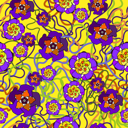 A seamless pattern of hand-drawn flowers and leaves. Ilustrace