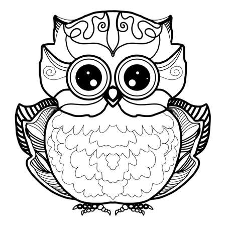 Cute owl cartoon bird character line sketch. Hand drawn vector illustration for t-shirt print design, coloring book, greeting card. Isolated on white