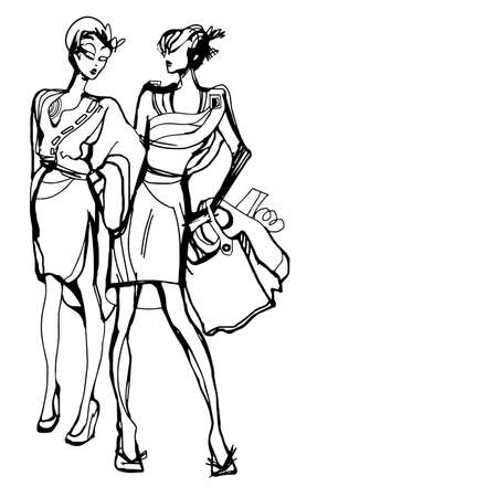 woman holding shopping bags. Vector illustration sketch doodle hand drawn with black lines isolated on white background. Space for text.