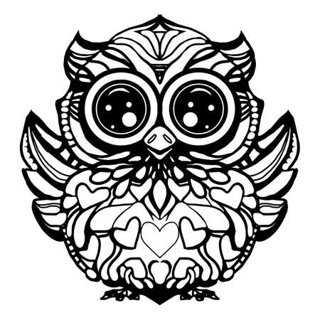 stylized Black Owl. Hand Drawn vector illustration isolated on white background. Vintage sketch for tattoo design or mehandi.