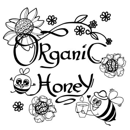 Honey bee . Hand drawn engraving style illustrations. Vintage label with ink hand drawn sketch of bumblebee. Stock vector illustration.