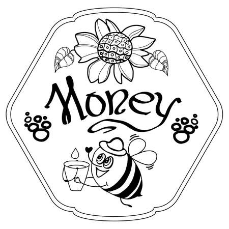 Cute cartoon honey bees and flowr - honey label design. Concept for organic honey products, package design. Stock vector illustration. Ilustrace