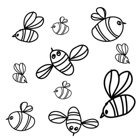 Bee vector seamless pattern. Hand drawn insect background. Engraved objects. Vintage drawing for honey industry, packaging design, fabric, swatch. Illustration