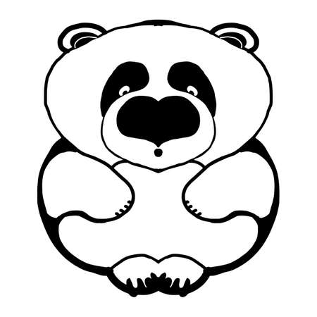 Black and white engrave isolated panda - bear. Black line art. Vector illustration.
