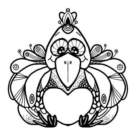 A happy hen drawn with a black line on a white background. Usage: for coloring, logo, label, emblem, stamp, engraving design works. Vector illustration Ilustrace