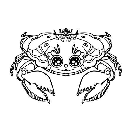Cute crab drawn black line doodle .Design template,logo, badge, icon,card, banner template. Vector outline illustration