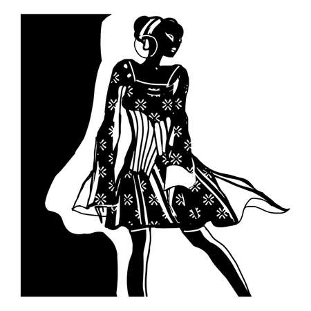 Black and white retro fashion model with fashionable dress. Drawn in sketch style. Hand drawn vector illustration