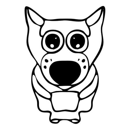 The embarrassed and frightened wolf-dog with big eyes is drawn in a black line. The hand-drawn sketch is in a cartoon, graphic, engraved style. Vector isolated illustration.