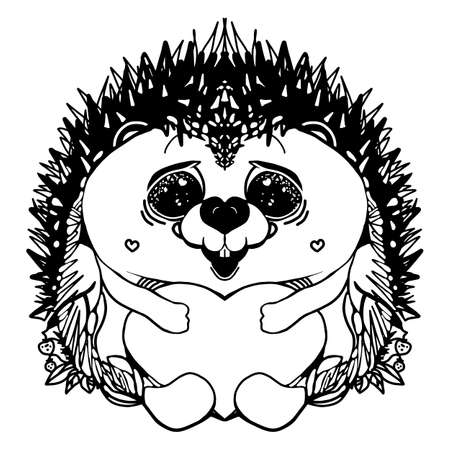 Cute hedgehog. Hand-drawn in line art style. Monochrome vector illustration. Isolated on white background