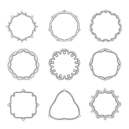 Vector label, frame, hand drawing black styles line. Isolated white background