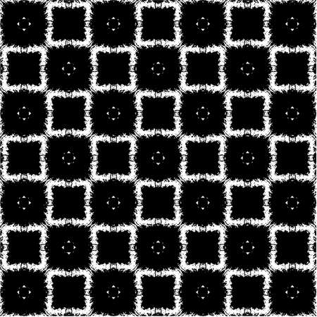 Abstract geometric pattern, background. White rectangles over black background. Vector illustration