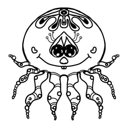 Cartoon characters a little cute young spider with eyes in love. Black and white ink drawing. Isolated illustration
