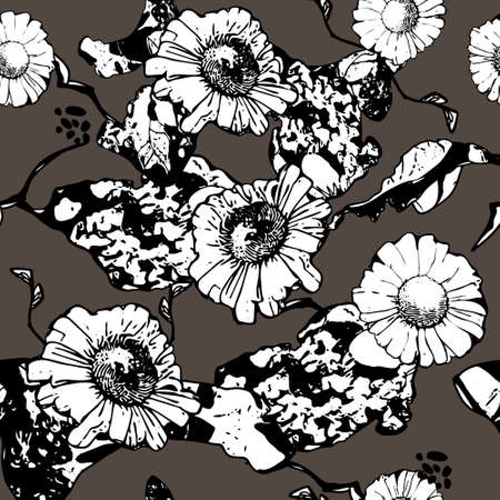 Monochrome floral seamless pattern with chamomile. White flowers and leaves on gray background. Hand drawn black line. For design, textile, print, wallpapers, wrapping paper. Vector stock illustration.