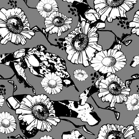 Seamless floral pattern background from white camomile flowers with leaves and stems on a dark gray background. Freehand outline drawing. For the design of textiles, postcards, wrapping, wallpaper, packaging, web page background. Vector