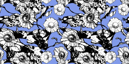 Monochrome floral seamless pattern with chamomile. White flowers and leaves on blue background. Hand drawn black line. For design, textile, print, banner, wallpapers, wrapping paper. Vector stock illustration.