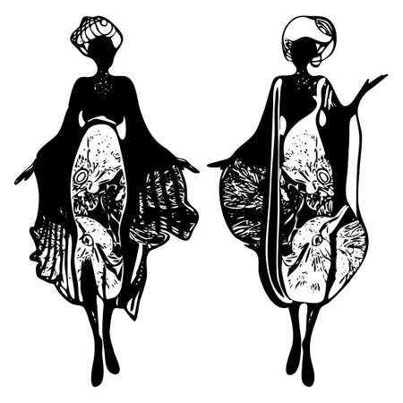 Women silhouettes drawn black line. Fashion sketch. Vector. Hand drawn stylish young lady. Ink-drawn fashionable desses . Fashion model posing. Black line art