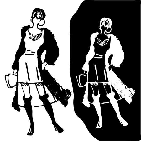 Black and white retro fashion model in sketch style. Hand drawn stylish young lady. Vector illustration
