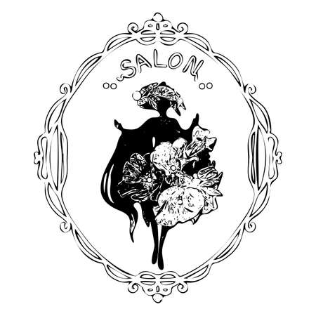 fashionable young woman inside old mirror frame. Beauty salon, signboard, emblem logo. Isolated vector illustration