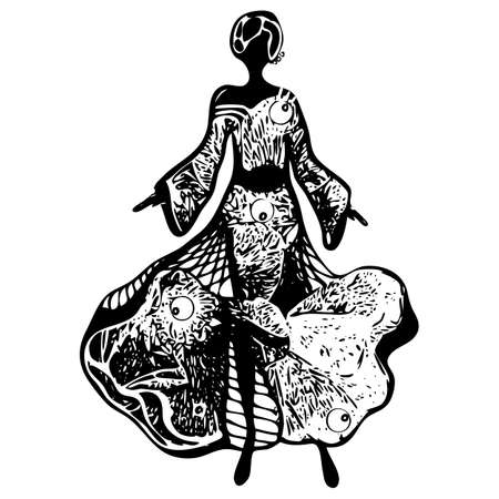 Walking young woman in beautyful summer dress. Drawn black and white graphic style. Isolated vector silhouette Ilustrace
