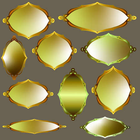 Set of gold vector frames. Isolated golden borders with place for text or label Ilustrace