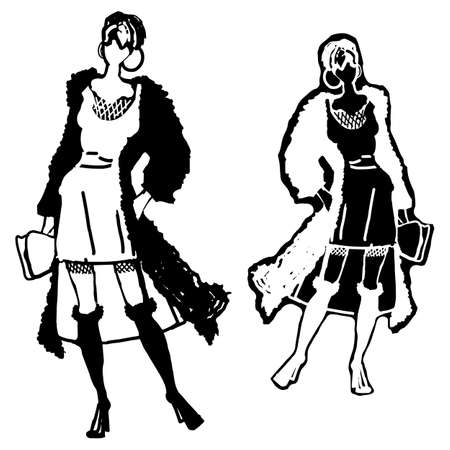 Black and white fashion woman models in sketch style. Hand drawn isolated vector illustration Ilustrace
