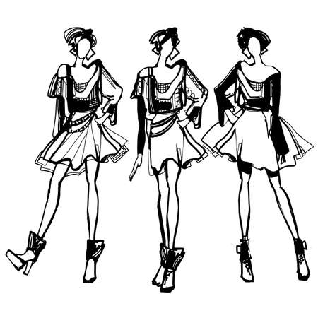 Vector illustration set of various beautiful model girls in dress. Women fashion black and white sketch.