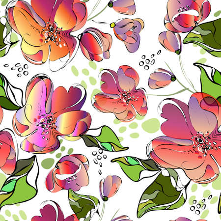 Seamless repeat pattern with pink,red flowers on white background. Hand drawn fabric, gift wrap, wall art design.