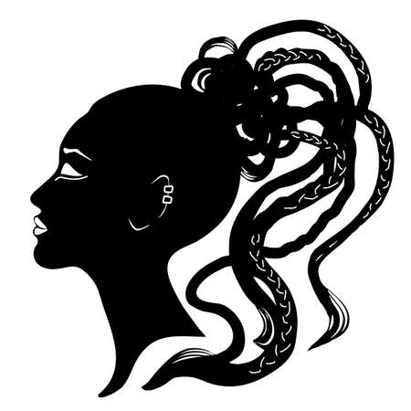 Black hair and pigtail, braided, cornrows hair style. Silhouette of woman side view face. Vector illustration isolated on a white background. Print, logo, poster, t-shirt, card.