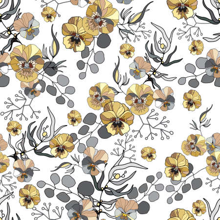 Seamless pattern with color pansy. Endless texture for floral design. For textile, wallpaper, covers, surface. Stock vector illustration Vettoriali