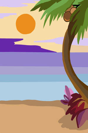 Sunset or sunrise over the ocean, landscape with palm trees and beach. Yellow clouds flying in the sky. The sun is shining on the horizon. Evening or Morning Image Cartoon. Stock vector Illustration Ilustração