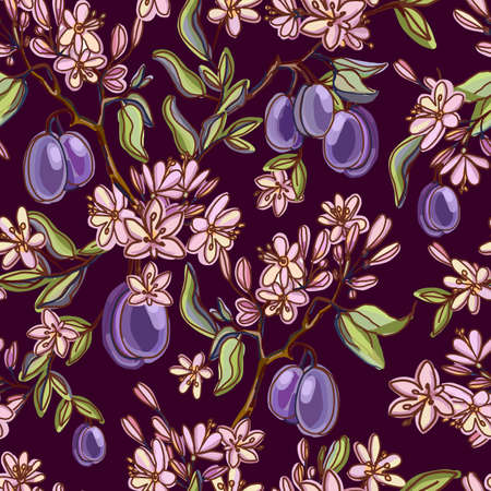 Seamless pattern with plums fruits and flowers, buds, leaves. Flowering branch with plums. Summer food can be used for printing, packaging, wallpaper, banners, menu cover. Isolated vector illustration Illusztráció