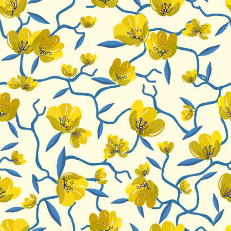 Elegant seamless floral pattern with yellow flowers on a white vintage background. Vector illustration