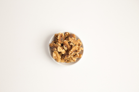 Walnuts kernel isolated on white background, Top view, selective focus. Stock Photo