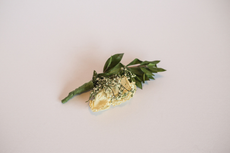 Rose boutonniere on white background.